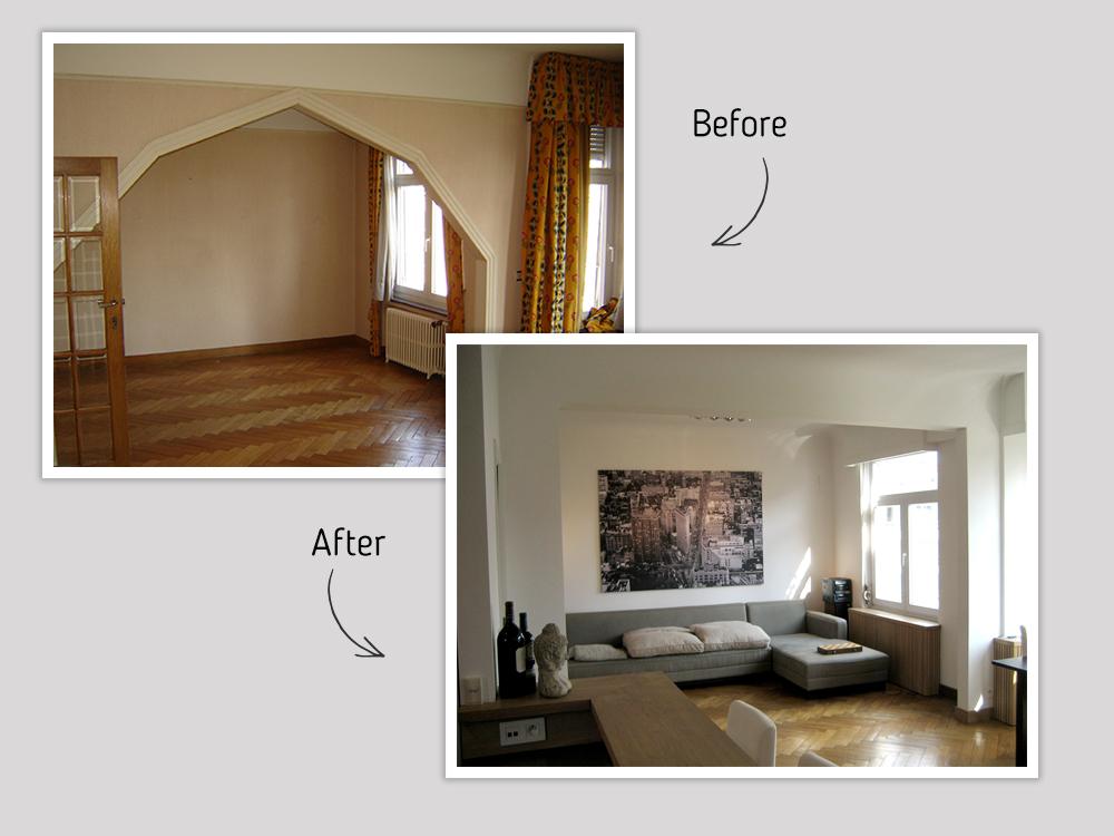 Rénovation de salon avec cheminée